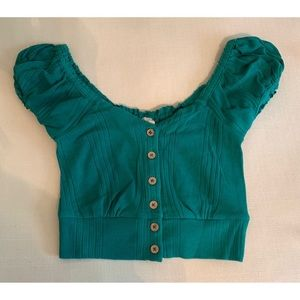 "Free People Tops - Free People ""Brighter Days"" Green Button Front Top"